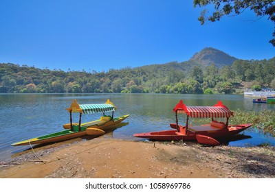 Colorful boats in Kundala lake in Munnar, Kerala.