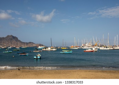 Colorful boats in the marina, the bay of Mindelo, Cape Verde.