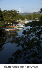 Colorful boats on Black river, Negril, Jamaica