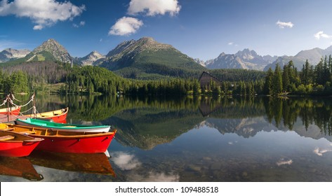 The colorful boats on Strbske lake - Slovakia
