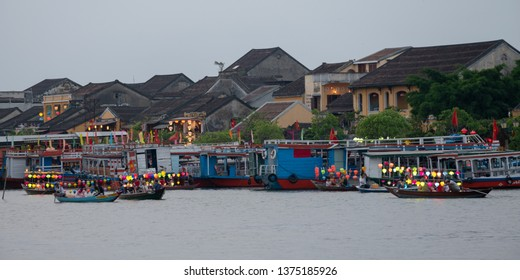 Colorful Boats on the Thu Bon River in Hoi An, Vietnam