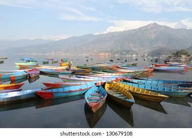 Colorful boats in Phewa lake, Pokhara, Nepal