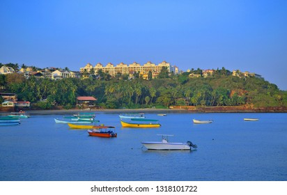 Colorful boats sailing at Dona Paula view point in Panaji, Goa.