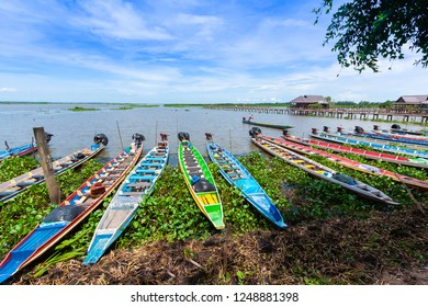 Colorful Boats in Thale Noi Waterfowl reserve (Thailand)