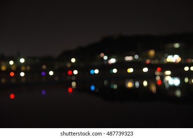 Colorful bokeh along the lake side in Korea