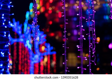 Colorful bokeh is have pink, green, white, red and blue.