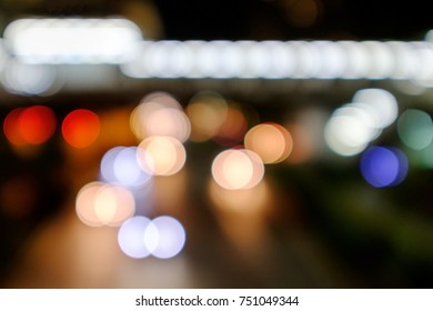 Colorful bokeh on night traffic abstract background