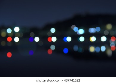 Colorful bokeh on the other side of the lake