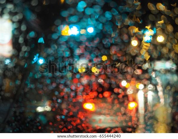 Colorful Bokeh Rain Light Night Stock Photo Edit Now 655444240