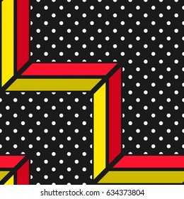Colorful bold bright seamless pattern. Trendy design in 80-90s style