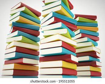 colorful book stacks