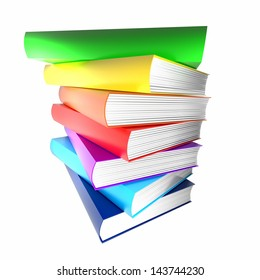 colorful books. isolated on white.