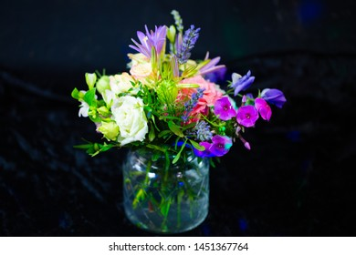 colorful bouquet, black background, birthday greetings with flowers