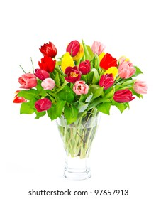 colorful bouquet of fresh tulip flowers on white background