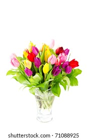 colorful bouquet of fresh tulips isolated on white
