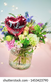 colorful bouquet with heart, text, I love you