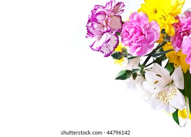 A colorful bouquet of mixed flowers
