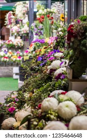 Colorful bouquets of miscellaneous flowers