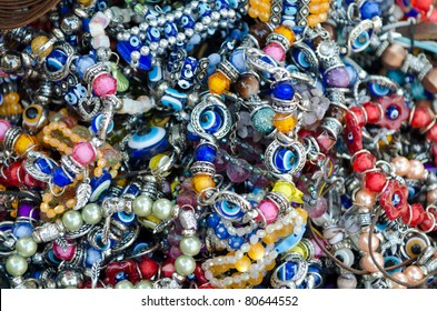 colorful  bracelets with the evil eye good luck beads in a Turkish bazaar