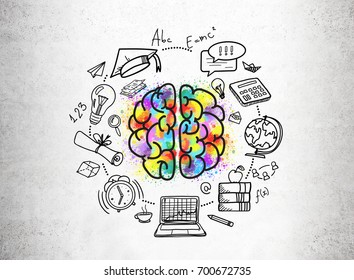 Colorful brain sketch in the center of education icons and drawings on a concrete wall. Concept of knowledge and a digital age.