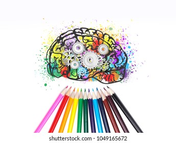 Psychology icons stock photos images photography shutterstock colorful brain sketch with gears on it different colored pencils lying under it creative thecheapjerseys Choice Image
