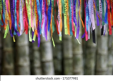 Colorful Brazilian Carnival lembranca wish ribbons against bamboo forest background
