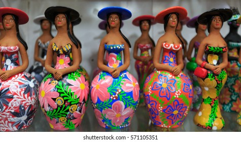 Colorful Brazilian Clay Dolls baiana from Salvador Bahia Brazil