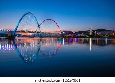 Colorful bridge and reflection Expo Bridge in Daejeon, South Korea.