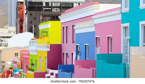 Colorful bright buildings in the historical Bo-Kaap or Malay Quarter district of Cape Town, South Africa
