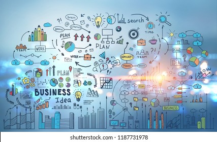Colorful and bright business idea icons and mind map over night city background. Toned image double exposure