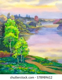 Colorful bright hand drawn watercolour sketch drawing on paper backdrop with space for text on gloaming heaven. Quiet gentle romantic springtime daybreak scene. Young Betulas on bank of calm bay view