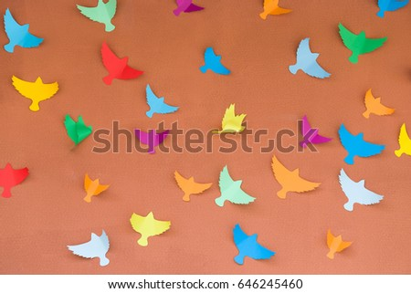 Colorful Bright Handmade Paper Birds On Stock Photo Edit Now
