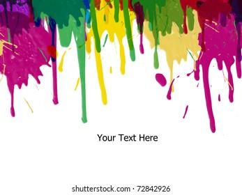 Colorful bright ink splashes on white background