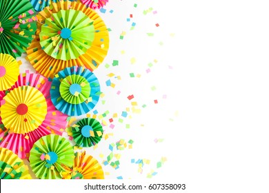 Colorful bright paper rosette. Decorating for a party.