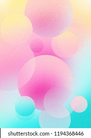 Colorful, bright pastel gradient background texture with bubbles and a noise grain.