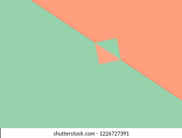 colorful bright pastel orange and green background, abstract paper flat lay