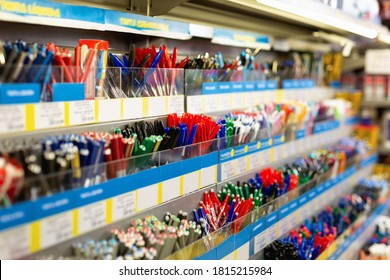Colorful bright quality pen shelves in office supply store