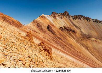 colorful bright ridge of Tunupa volcano crater in Bolivia