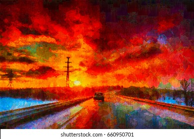 A colorful bright sunset with a car heading forward along the road. An oil painting painted with a palette knife. Digital painting