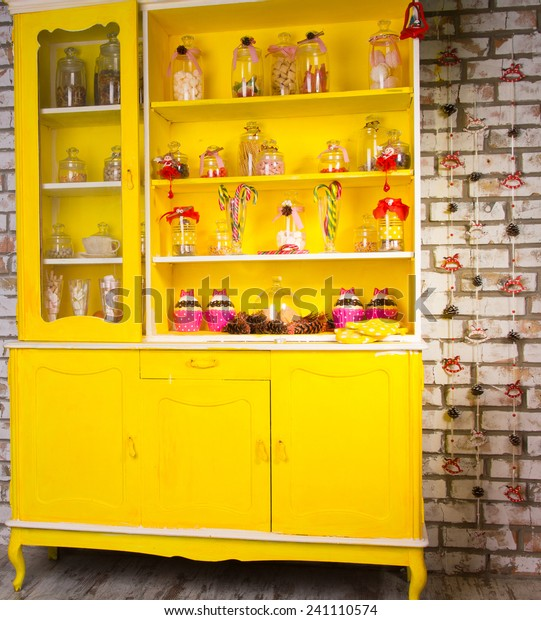 Colorful Bright Yellow Welsh Dresser Shelves Stock Photo Edit Now