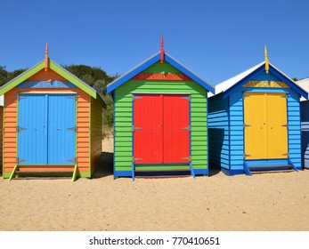Colorful Brighton Bathing Boxes retain classic Victorian architectural features with timber framing, Melbourne,Australia