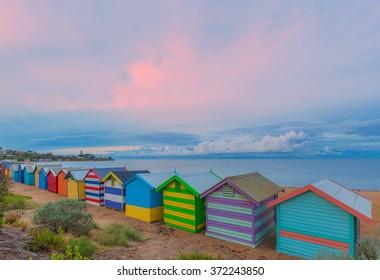 Colorful Brighton bathing houses at sunrise, Melbourne, Victoria, Australia
