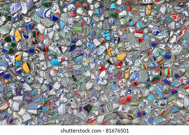 Colorful broken glass mosaic work. Istanbul, Turkey