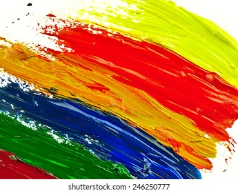 Colorful brush strokes on a white sheet. The visible texture paint.