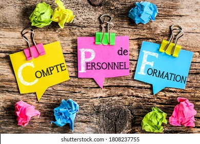 """Colorful bubbles shaped paper with the French acronym word  """"CPF Compte Personnel de Formation"""" means Personal Training Account"""