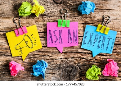 """Colorful bubbles shaped paper with the text """" Ask an Expert"""""""