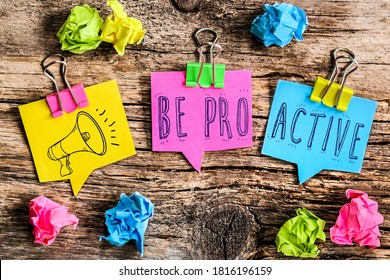 "Colorful bubbles shaped paper with the text ""be proactive"""