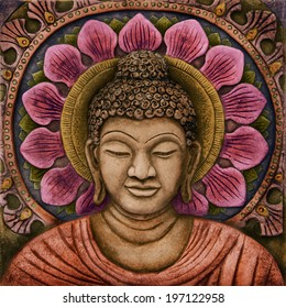 colorful  Buddha Relief