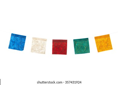 Colorful buddhism flags isolated over white background