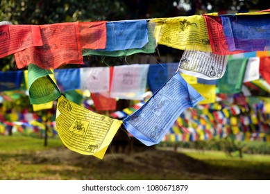 Colorful Buddhist Prayer Flags in Lumbini Garden, the Buddha birthplace in Nepal